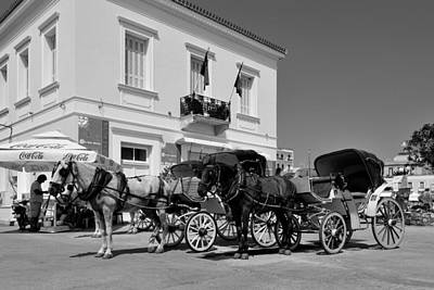 Horse Photograph - Horse Carriages In Spetses Town by George Atsametakis