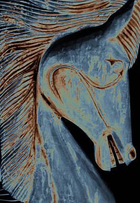 Photograph - Horse Carving In Blue by Ann Powell