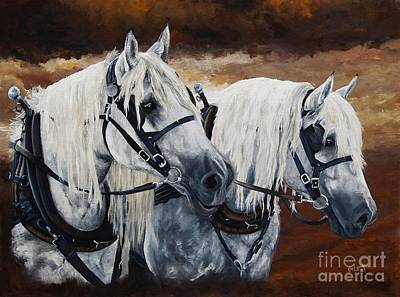 Percheron Painting - Horse Collar Workers by Pat DeLong