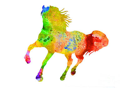 Abstract Horses Mixed Media - Horse Colorful Silhouette Art Print Watercolor Paintig by Joanna Szmerdt