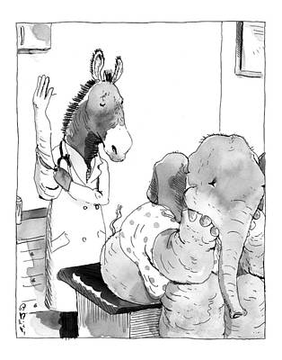 Drawing - Horse Doctor Examines Elephant Patient by Barry Blitt