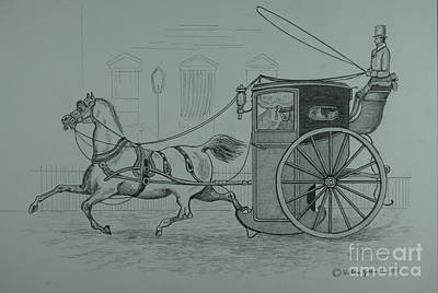 Drawing - Horse Drawn Cab 1846 by William Goldsmith