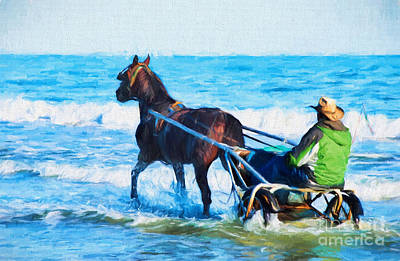 Horse Drawn Carriage In The Ocean Digital Art Art Print by Vizual Studio