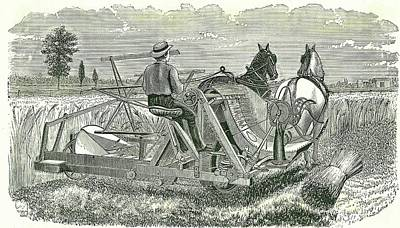 Horse-drawn Self-binding Reaping Machine Print by Universal History Archive/uig
