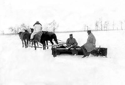 Horse-drawn Plow Photograph - Horse Drawn Snow Plow by Underwood Archives