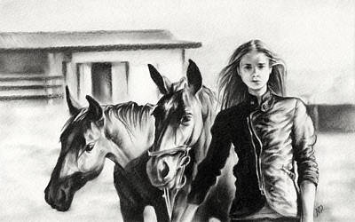 Monotone Drawing - Horse Farm by Natasha Denger