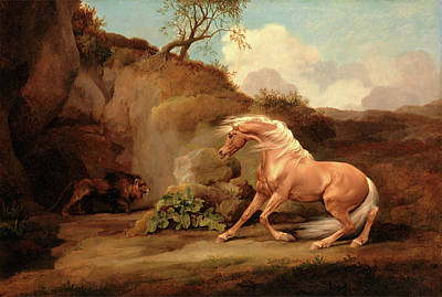 Horse Frightened By A Lion, George Stubbs Art Print