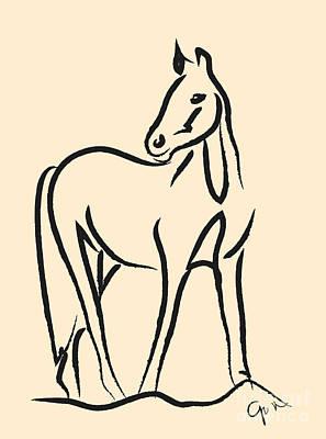 Abstract Digital Drawing - Horse - Grace by Go Van Kampen