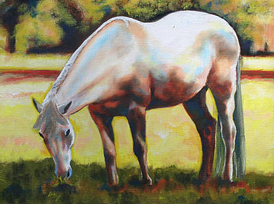 Horse Grazing In The Shade Art Print