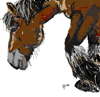 Print featuring the painting horse - Guus by Go Van Kampen