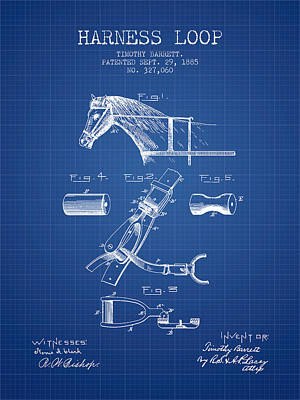 Horse Tack Drawing - Horse Harness Loop Patent From 1885 - Blueprint by Aged Pixel