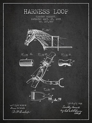 Horse Tack Digital Art - Horse Harness Loop Patent From 1885 - Dark by Aged Pixel