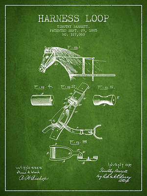 Animals Digital Art - Horse Harness Loop Patent from 1885 - Green by Aged Pixel