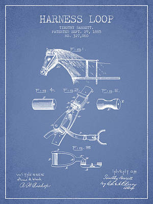 Horse Tack Drawing - Horse Harness Loop Patent From 1885 - Light Blue by Aged Pixel
