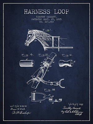 Horse Tack Drawing - Horse Harness Loop Patent From 1885 - Navy Blue by Aged Pixel