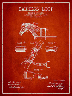 Animals Digital Art - Horse Harness Loop Patent from 1885 - Red by Aged Pixel
