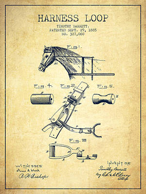 Horse Tack Drawing - Horse Harness Loop Patent From 1885 - Vintage by Aged Pixel
