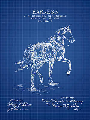 Horse Tack Drawing - Horse Harness Patent From 1885 - Blueprint by Aged Pixel