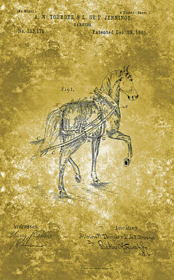 Animal Portraits - Horse Harness Patent From 1885 by Celestial Images