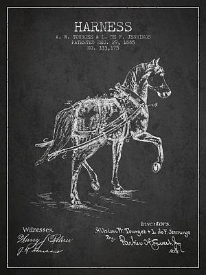 Animals Digital Art - Horse harness patent from 1885 - Charcoal by Aged Pixel