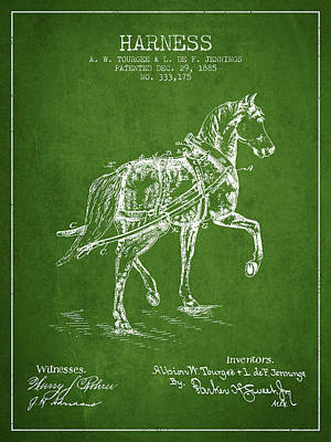 Animals Digital Art - Horse harness patent from 1885 - Green by Aged Pixel