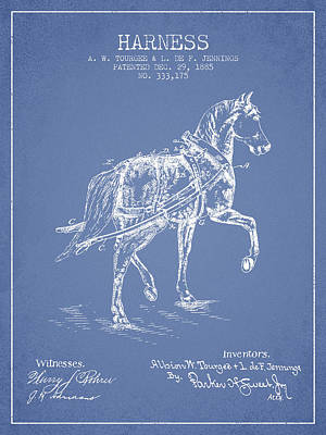Animals Digital Art - Horse harness patent from 1885 - Light Blue by Aged Pixel