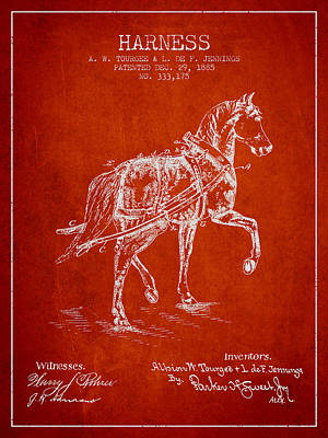 Animals Digital Art - Horse harness patent from 1885 - Red by Aged Pixel