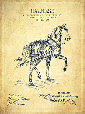 Horse Tack Digital Art - Horse Harness Patent From 1885 - Vintage by Aged Pixel