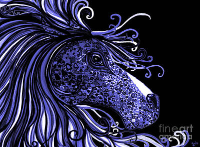 Animals Drawings - Horse Head Blues by Nick Gustafson
