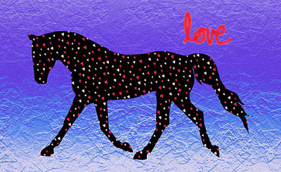 Horse Hearts And Love Art Print