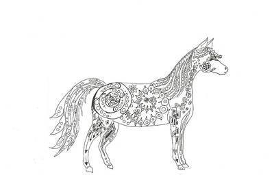 Horse And Cart Drawing - Horse  by Heather  Stirnweis