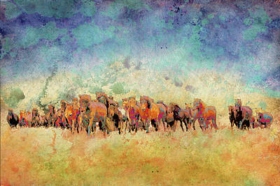 Running Digital Art - Horse Herd by Ynon Mabat
