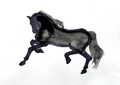 Jogging Drawing - Horse II by Nancy Mauerman