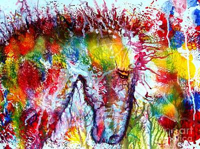Horse In Abstract Art Print by Anastasis  Anastasi
