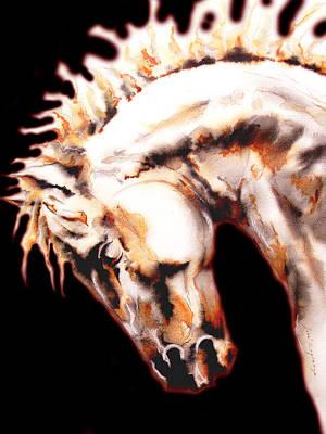 Noir Drawing - Horse In Black by Jose Espinoza