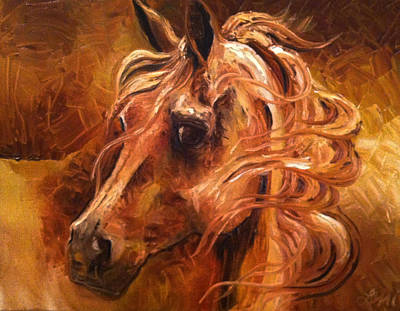Windblown Painting - Horse In Gold by Leni Tarleton