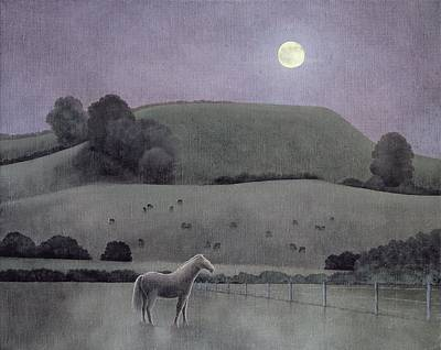 Moonlit Night Photograph - Horse In Moonlight, 2005 Oil On Canvas by Ann Brain