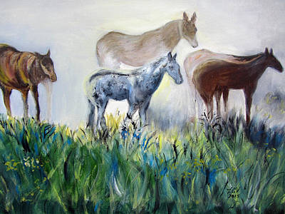 Painting - Horses In The Fog by Lucille  Valentino