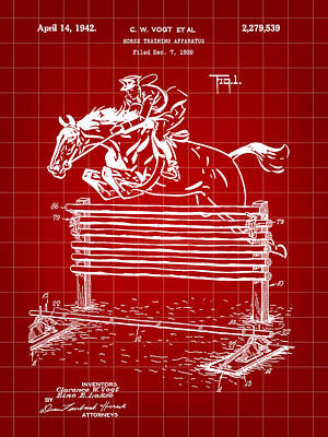 Eventing Digital Art - Horse Jump Patent 1939 - Red by Stephen Younts