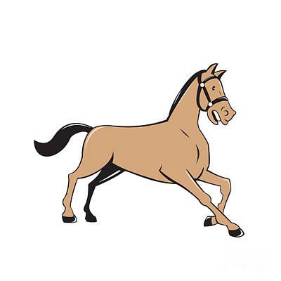 Horse Kneeling Down Cartoon Art Print