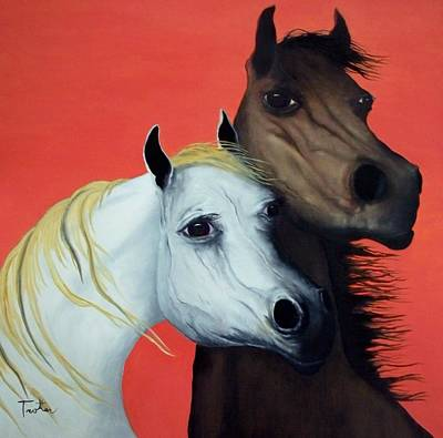 Horse Lovers In Red  Sold Art Print by Patrick Trotter