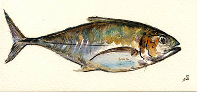 Atlantic Ocean Painting - Horse Mackerel by Juan  Bosco