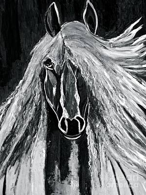 Painting - Horse Magnificent Black And White by Saundra Myles