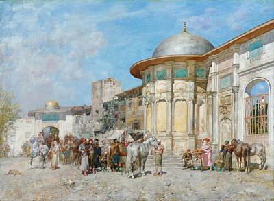 Syria Painting - Horse Market. Syria by Alberto Pasini