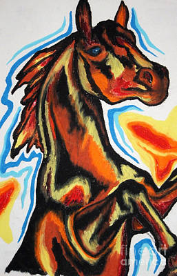 Animals Drawings - Horse Of A Different Color by Kryztina Spence