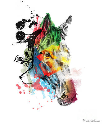 Horse On Abstract  2 Art Print by Mark Ashkenazi