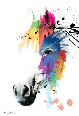 Wild Mustang Painting - Horse On Abstract   by Mark Ashkenazi
