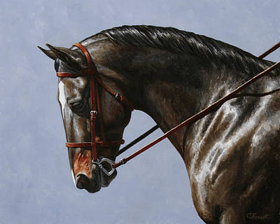 English Riding Painting - Horse Painting - Discipline by Crista Forest