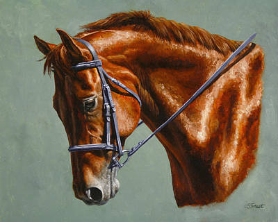 English Riding Painting - Horse Painting - Focus by Crista Forest