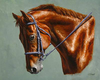 Animals Paintings - Chestnut Dressage Horse Portrait by Crista Forest